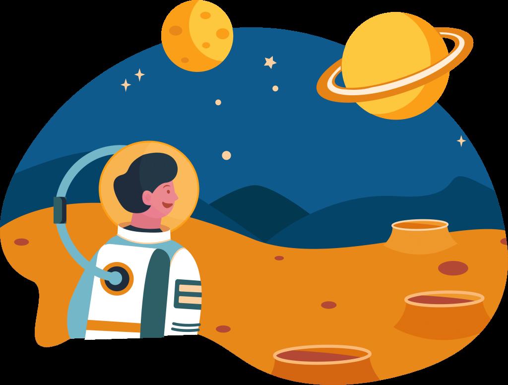 painting of astronaut on mars